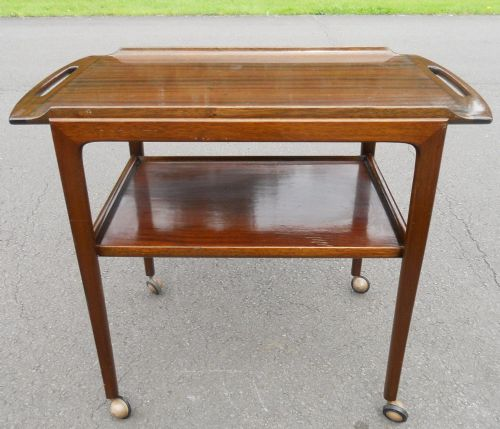 Mahogany Tray Top Two Tier Tea Trolley